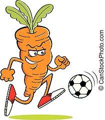 Cartoon Carrot Playing Soccer.