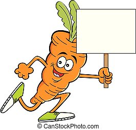 Cartoon carrot running while holding a sign.