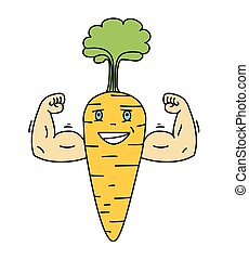 Cartoon carrot vegetable character with a smiling face and big hands, vector illustration