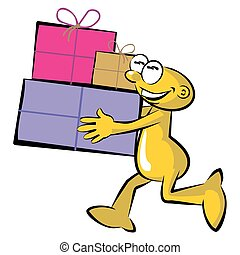 Cartoon carrying a box