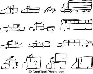 Cartoon cars / Funny transportation vehicles