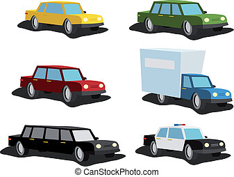 Illustration set of cartoon cars, from ordinary vehicle to police car, delivery truck or cadillac for vip