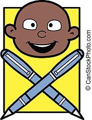 Cartoon Cartoon Bald Black Pen Mascot