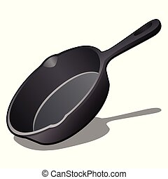 Cartoon cast iron skillet with non-stick coating isolated on white background. Vector illustration