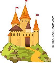 Cartoon Castle - Cartoon Illustration Castle Isolated on...