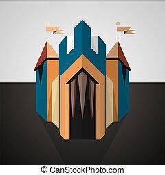 Cartoon castle drawn in perspective. Icon.
