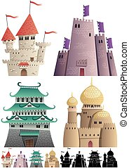 Cartoon Castles on White - Set of cartoon castles on white...