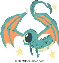 Cartoon casual little alien flat mascot.
