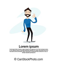 Cartoon Casual Man Ok Finger Gesture