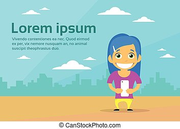 Cartoon Casual Woman Character Using Cell Smart Phone