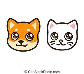 Cartoon cat and dog face