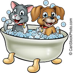 Cartoon dog and cat washing in the bath with bubbles