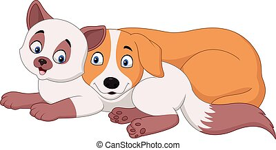 Cartoon cat and dog relaxing - Vector illustration of...