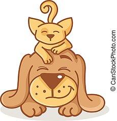 Cartoon cat and dog