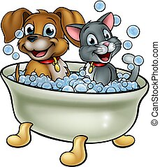 Cartoon Cat and Dog Washing in Bath