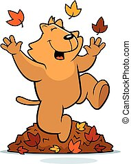 Cartoon Cat Autumn