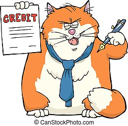 Cartoon cat banker