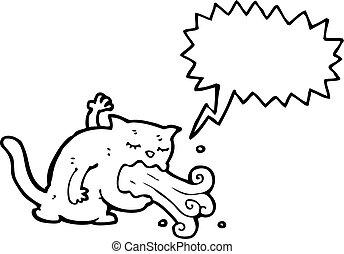 cartoon cat being sick