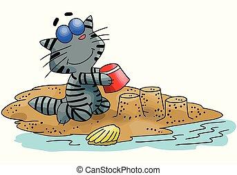 Cartoon cat building sand castles on the beach vector illustration