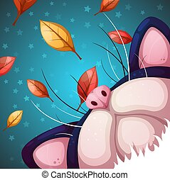 Cartoon cat characters. Fall illustration.