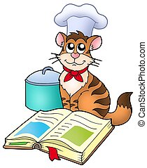 Cartoon cat chef with recipe book - color illustration.