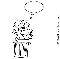 Cartoon Cat - Monochrome outline cartoon cat with dinner...
