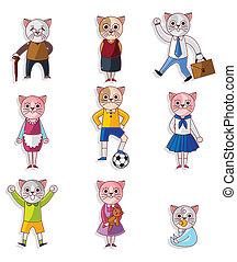 cartoon cat family icon set