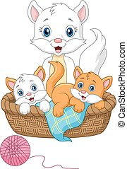 Cartoon cat family playing