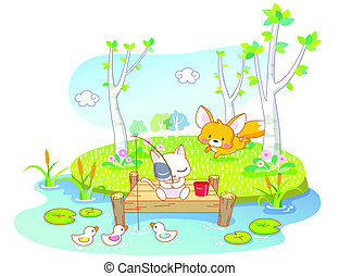 cartoon cat fishing in the river with squirrel and ducks