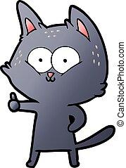 cartoon cat giving thumbs up