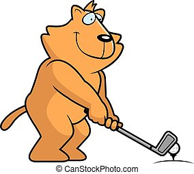 Cartoon Cat Golfing - A cartoon illustration of a lion...