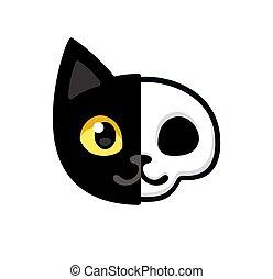 Cartoon black cat head with half skull, cute Schrodinger's cat illustration, half dead and alive. Funny Halloween clip art design.