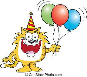 Cartoon cat holding balloons