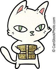 cartoon cat holding parcel