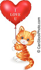 Cartoon cat holding red heart balloon
