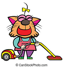 cartoon cat housewife with a vacuum cleaner.