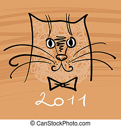 Cartoon cat illustration for 2011