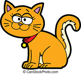 Cartoon Cat - Orange cartoon pet cat