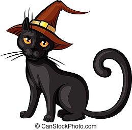 Cartoon cat in hat contour color