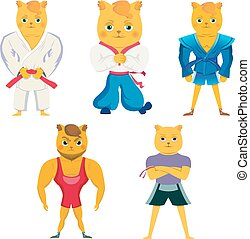 Cartoon cat in karate ,mma ,outfit. Isolated on white