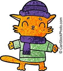 cartoon cat in winter clothes