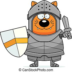 Cartoon Cat Knight Sword