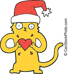 cartoon cat loving christmas