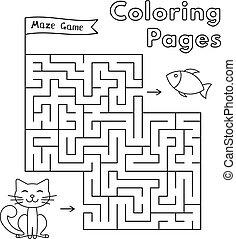 Cartoon Cat Maze Game