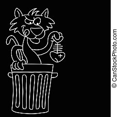 Cartoon Cat - Monochrome cartoon cat with dinner isolated on...