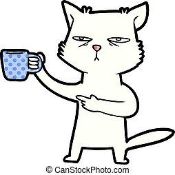 cartoon cat needing a refill of coffee