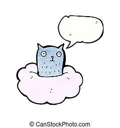 cartoon cat on cloud