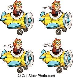 Cartoon Cat Pilot Sprite - Vector Illustration of Pilot Cat...