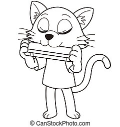 Cartoon cat playing a harmonica. black and white