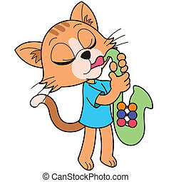 Cartoon Cat Playing a Saxophone - Cartoon giraffe playing a...